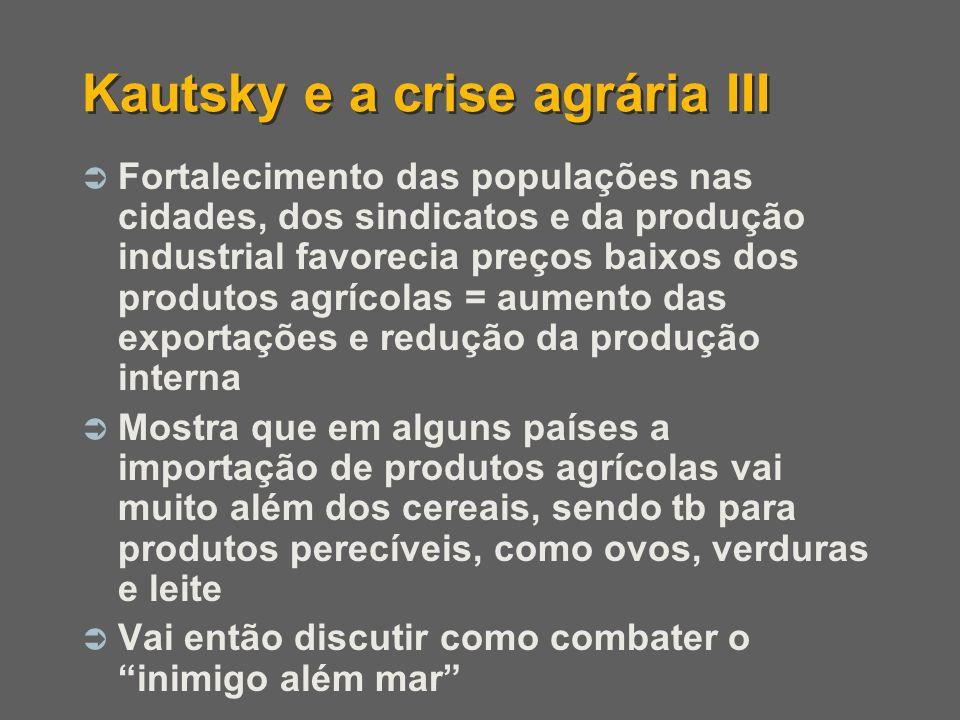 Fortalecimento das populações nas cidades, dos sindicatos e da produção industrial favorecia preços baixos dos produtos agrícolas = aumento das export