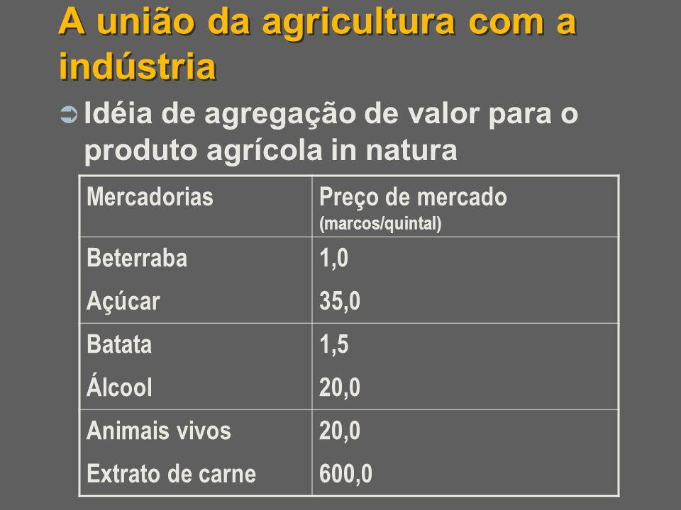 A união da agricultura com a indústria Idéia de agregação de valor para o produto agrícola in natura MercadoriasPreço de mercado (marcos/quintal) Bete