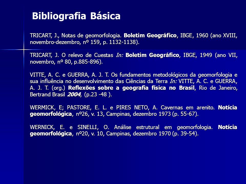 Bibliografia Básica TRICART, J., Notas de geomorfologia. Boletim Geográfico, IBGE, 1960 (ano XVIII, novembro-dezembro, nº 159, p. 1132-1138). TRICART,