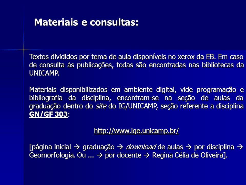 Textos divididos por tema de aula disponíveis no xerox da EB. Em caso de consulta às publicações, todas são encontradas nas bibliotecas da UNICAMP. Ma