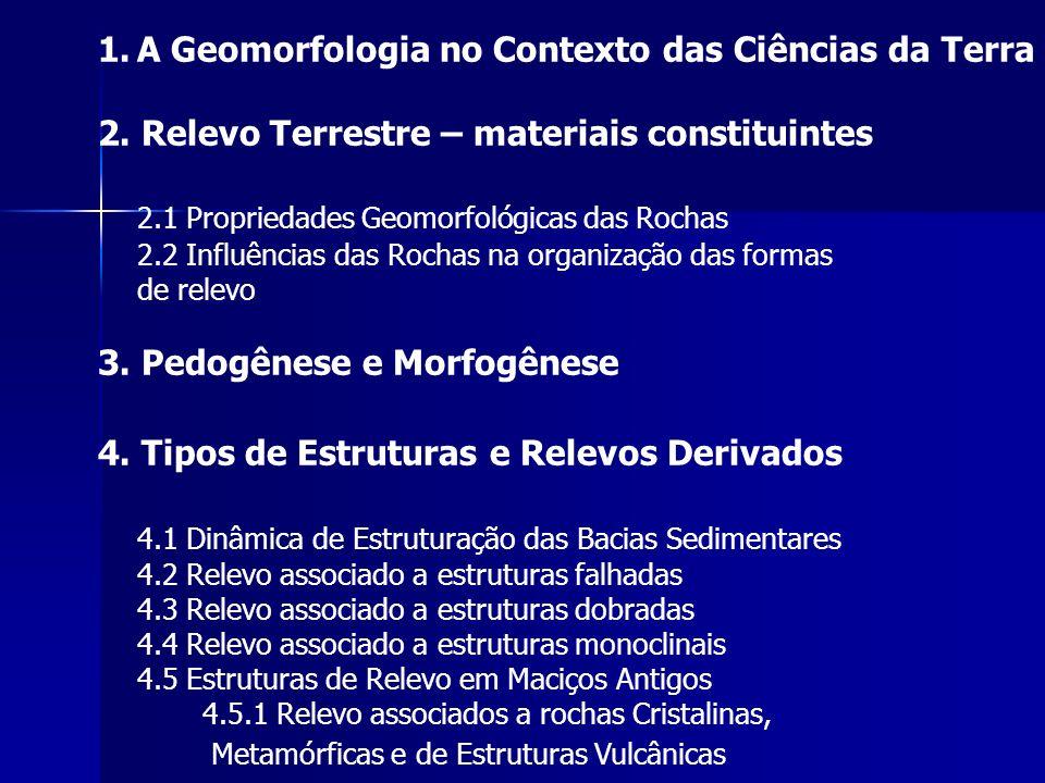 1.A Geomorfologia no Contexto das Ciências da Terra 2. Relevo Terrestre – materiais constituintes 2.1 Propriedades Geomorfológicas das Rochas 2.2 Infl