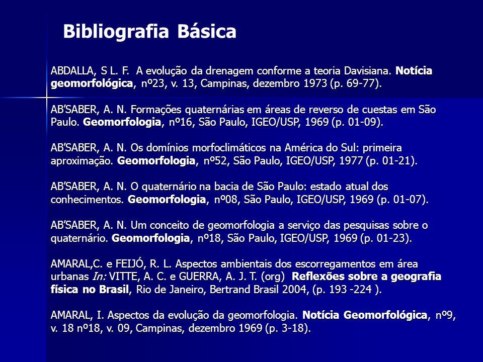 Bibliografia Básica ABDALLA, S L. F. A evolução da drenagem conforme a teoria Davisiana. Notícia geomorfológica, nº23, v. 13, Campinas, dezembro 1973
