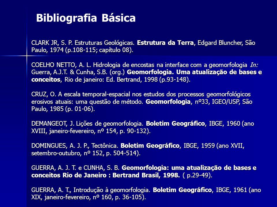 Bibliografia Básica CLARK JR, S. P. Estruturas Geológicas. Estrutura da Terra, Edgard Bluncher, São Paulo, 1974 (p.108-115; capítulo 08). COELHO NETTO