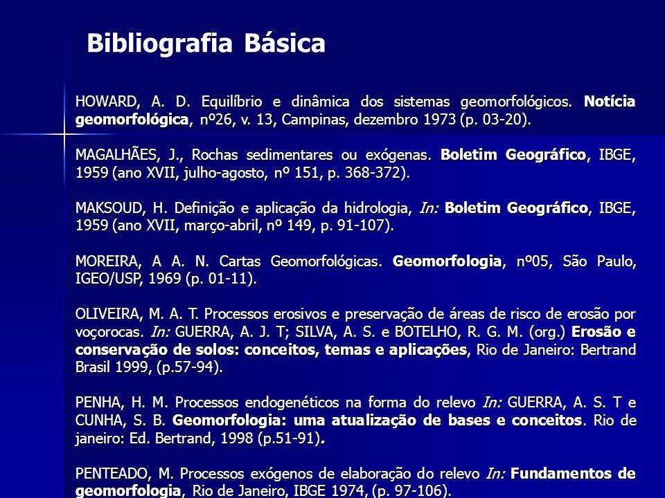 Bibliografia Básica HOWARD, A. D. Equilíbrio e dinâmica dos sistemas geomorfológicos. Notícia geomorfológica, nº26, v. 13, Campinas, dezembro 1973 (p.