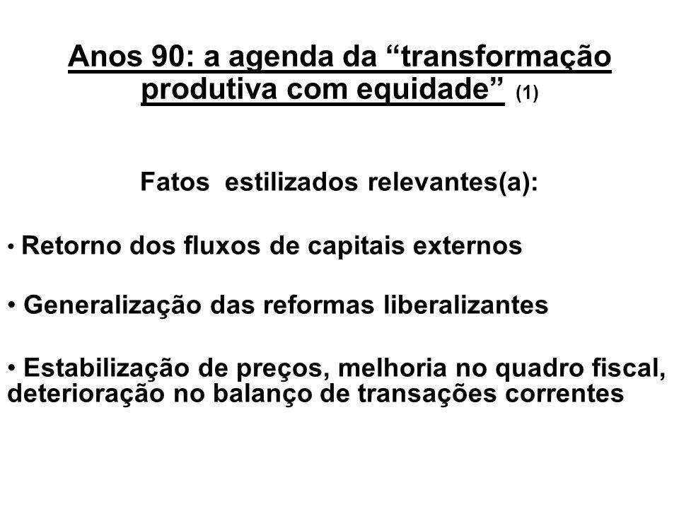Anos 80: Deslocamento do eixo de análise, das questões de longo prazo à trilogia dívida/ inflação/ajuste Diagnóstico dos anos 80: recessão é forma inó