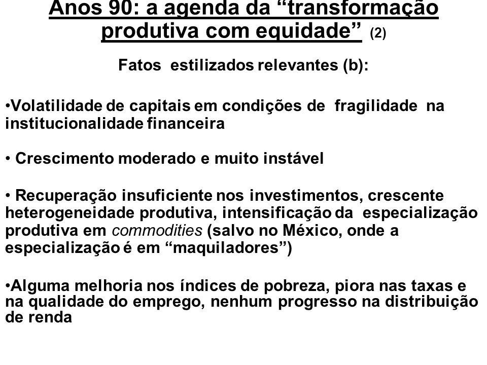 Anos 90: a agenda da transformação produtiva com equidade (1) Fatos estilizados relevantes(a): Retorno dos fluxos de capitais externos Generalização d
