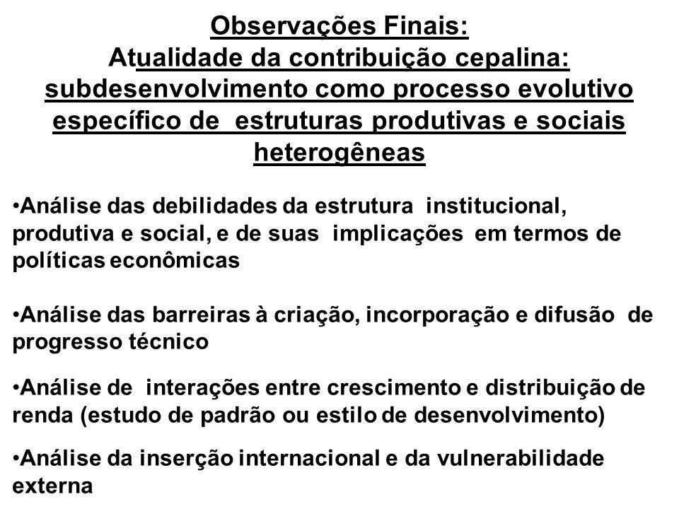 Transformação produtiva com equidade: uma agenda de reflexão sobre a transição dos 90 Recuperação da perspectiva de médio e longo prazos, nos dois tri