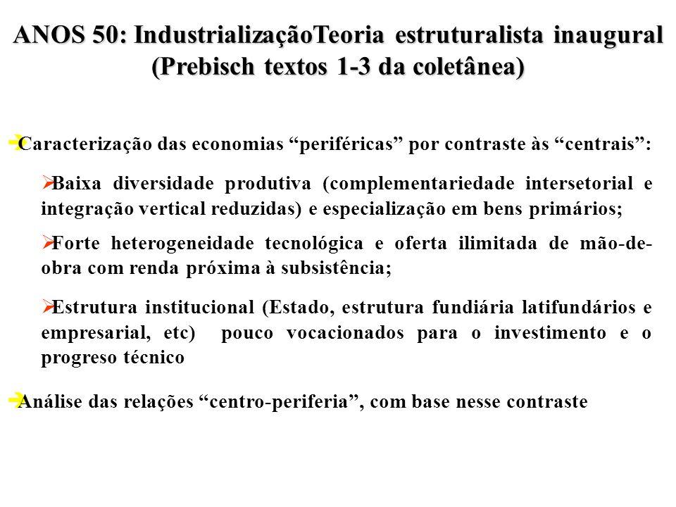 Anos 50: Industrialização Anos 60: Reformas Anos 70: Estilos (e discussão sobre endividamento versus fortalecimento exportador) Anos 80: Crise da dívi