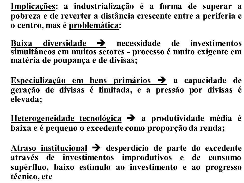 èCaracterização das economias periféricas por contraste às centrais: Baixa diversidade produtiva (complementariedade intersetorial e integração vertic