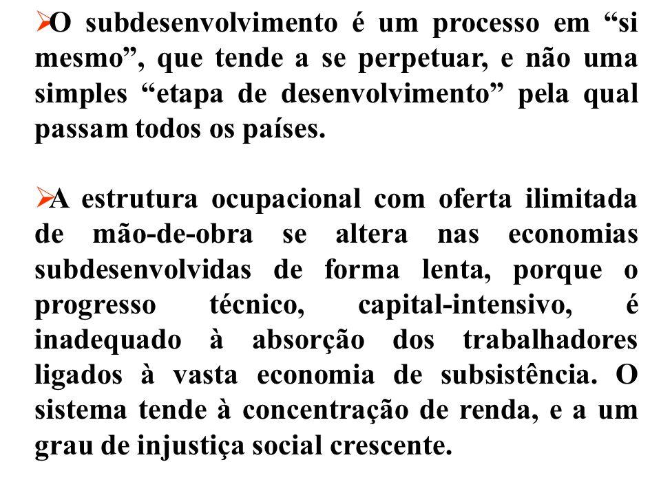 Desenvolvimento e Subdesenvolvimento- algumas idéias básicas O subdesenvolvimento é uma das linhas históricas de projeção do capitalismo industrial cê