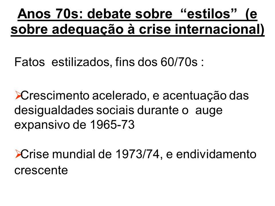 Anos 70s: debate sobre estilos (e sobre adequação à crise internacional) Fatos estilizados, fins dos 60/70s : Crescimento acelerado, e acentuação das desigualdades sociais durante o auge expansivo de 1965-73 Crise mundial de 1973/74, e endividamento crescente