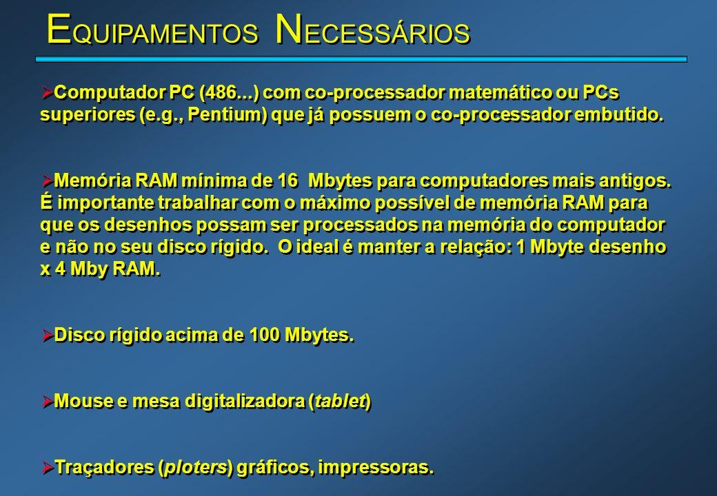 E QUIPAMENTOS N ECESSÁRIOS Computador PC (486...) com co-processador matemático ou PCs superiores (e.g., Pentium) que já possuem o co-processador embu