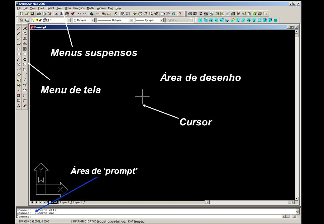 Área de desenho Menu de tela Menus suspensos Área de prompt Cursor