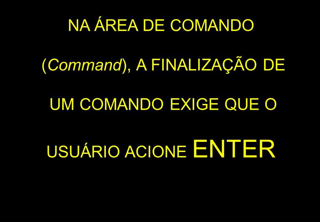 NA ÁREA DE COMANDO (Command), A FINALIZAÇÃO DE UM COMANDO EXIGE QUE O USUÁRIO ACIONE ENTER