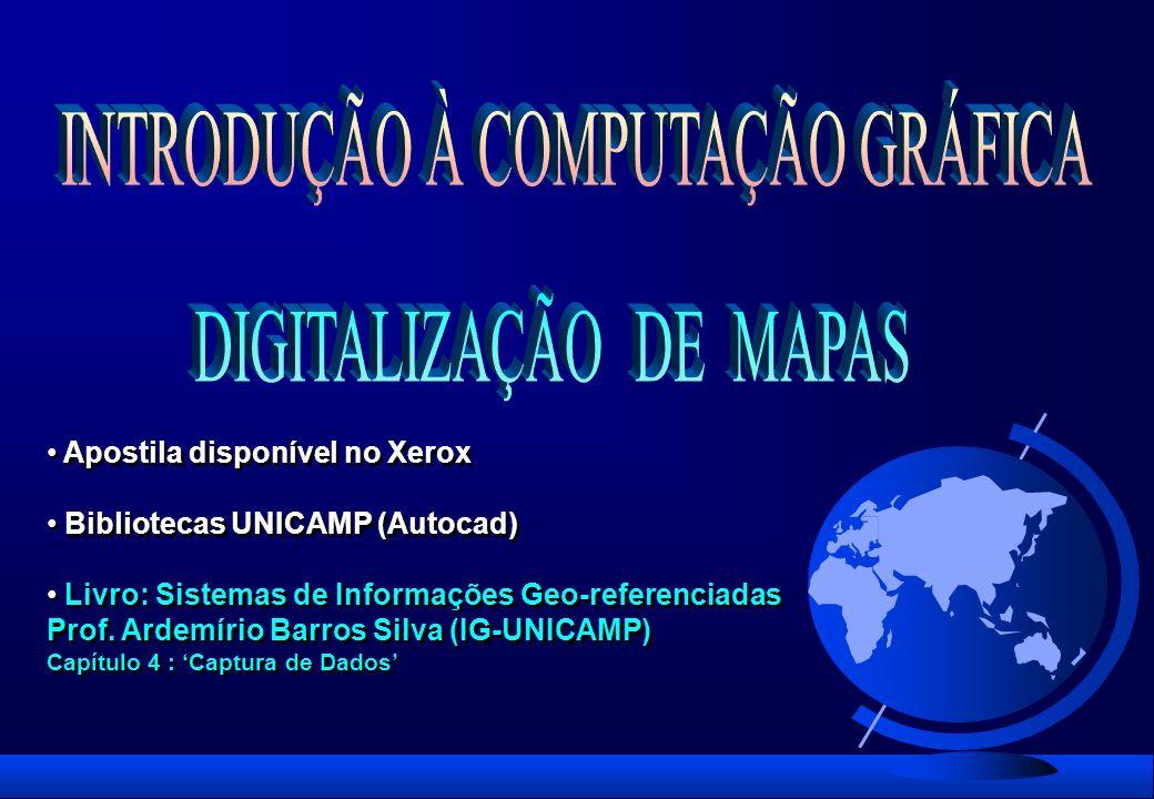 Apostila disponível no Xerox Bibliotecas UNICAMP (Autocad) Livro: Sistemas de Informações Geo-referenciadas Prof. Ardemírio Barros Silva (IG-UNICAMP)