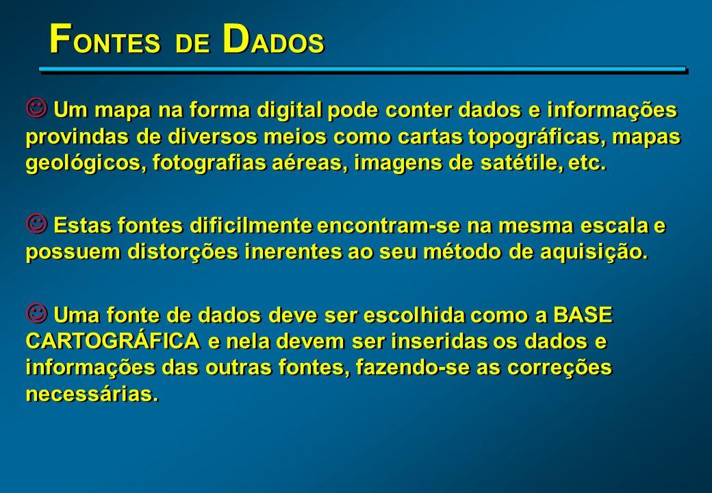 F ONTES DE D ADOS J Um mapa na forma digital pode conter dados e informações provindas de diversos meios como cartas topográficas, mapas geológicos, f