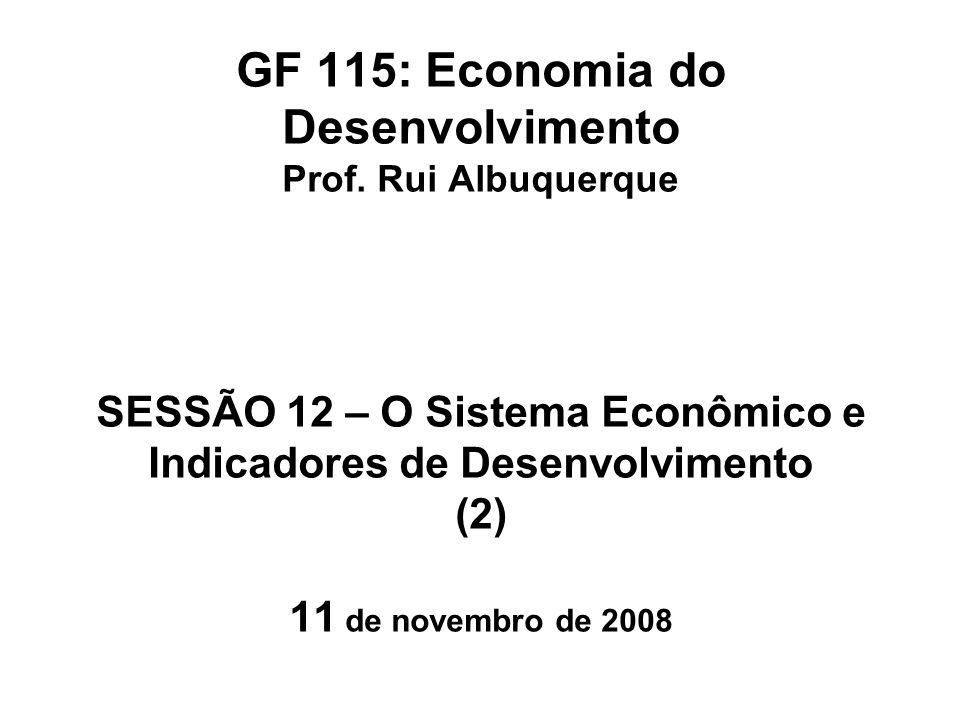 (Recordando...) Desenvolvimento: Elevação da Qualidade de Vida da população e redução das diferenças econômicas e sociais entre seus membros Crescimento Econômico: Ampliação do valor do Produto Interno Bruto, passível de medição pelas Contas Nacionais