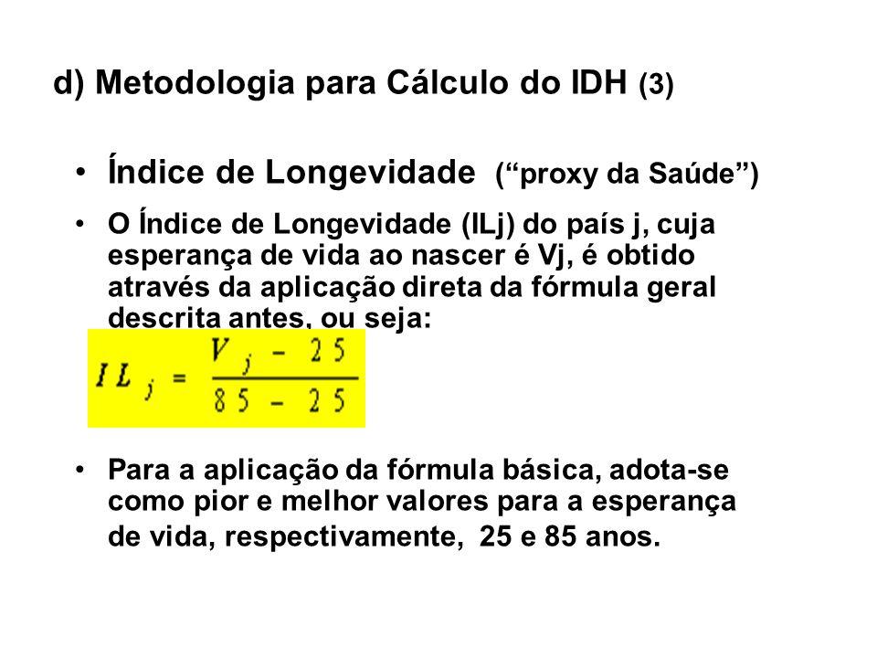 d) Metodologia para Cálculo do IDH (3) Índice de Longevidade (proxy da Saúde) O Índice de Longevidade (ILj) do país j, cuja esperança de vida ao nasce
