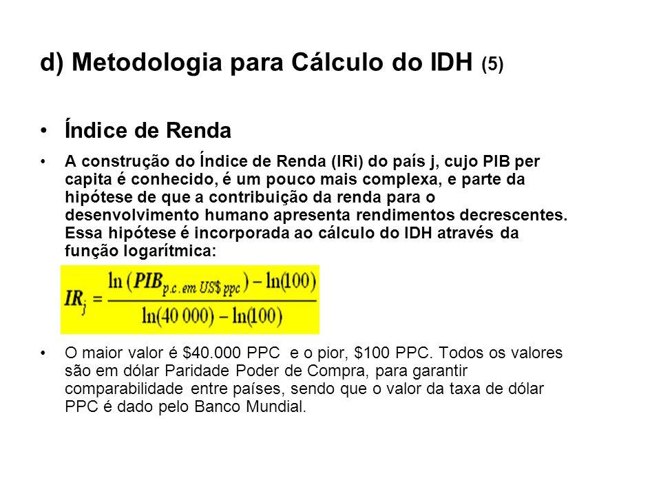 d) Metodologia para Cálculo do IDH (5) Índice de Renda A construção do Índice de Renda (IRi) do país j, cujo PIB per capita é conhecido, é um pouco ma