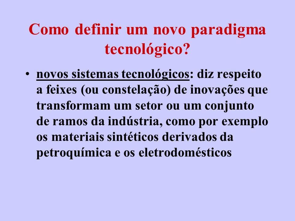 Como definir um novo paradigma tecnológico? novos sistemas tecnológicos: diz respeito a feixes (ou constelação) de inovações que transformam um setor