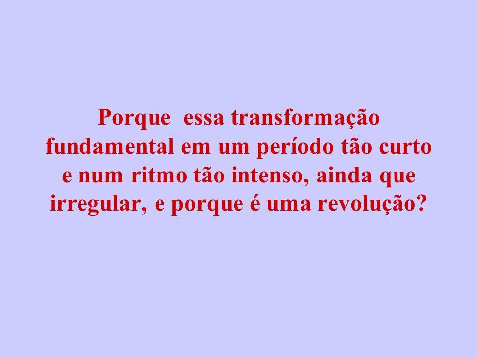 Porque essa transformação fundamental em um período tão curto e num ritmo tão intenso, ainda que irregular, e porque é uma revolução?