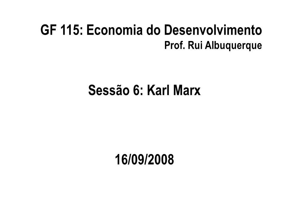 GF 115: Economia do Desenvolvimento Prof. Rui Albuquerque Sessão 6: Karl Marx 16/09/2008