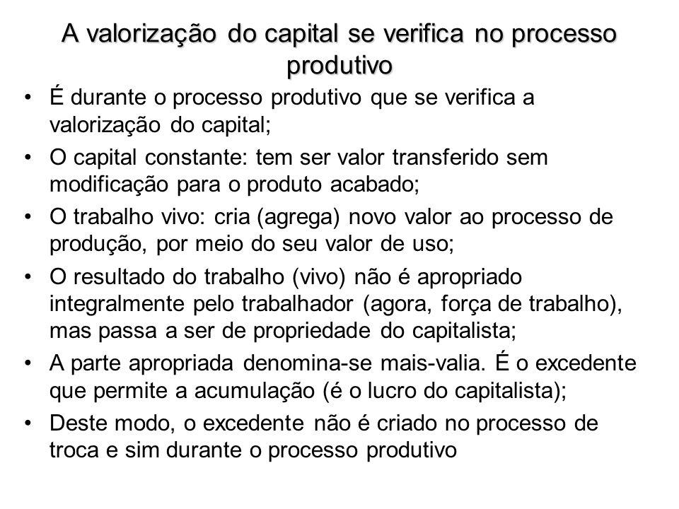 A valorização do capital se verifica no processo produtivo É durante o processo produtivo que se verifica a valorização do capital; O capital constant