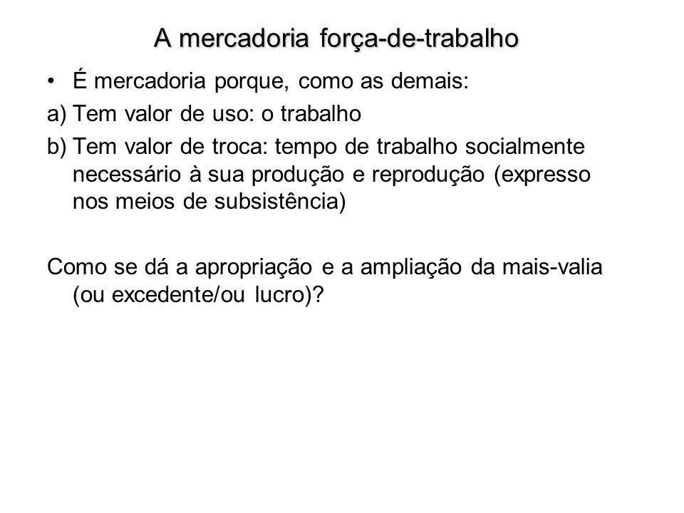 A mercadoria força-de-trabalho É mercadoria porque, como as demais: a)Tem valor de uso: o trabalho b)Tem valor de troca: tempo de trabalho socialmente