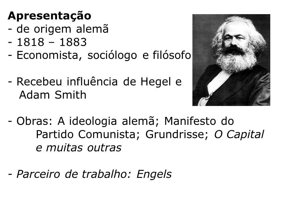 Apresentação - de origem alemã - 1818 – 1883 - Economista, sociólogo e filósofo - Recebeu influência de Hegel e Adam Smith - Obras: A ideologia alemã;