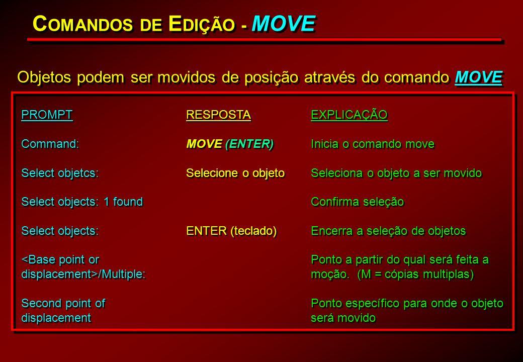 C OMANDOS DE E DIÇÃO - MOVE Objetos podem ser movidos de posição através do comando MOVE PROMPT Command: Select objetcs: Select objects: 1 found Selec