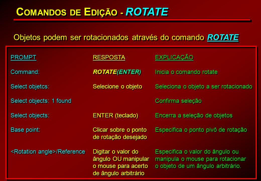 C OMANDOS DE E DIÇÃO - ROTATE Objetos podem ser rotacionados através do comando ROTATE PROMPT Command: Select objetcs: Select objects: 1 found Select