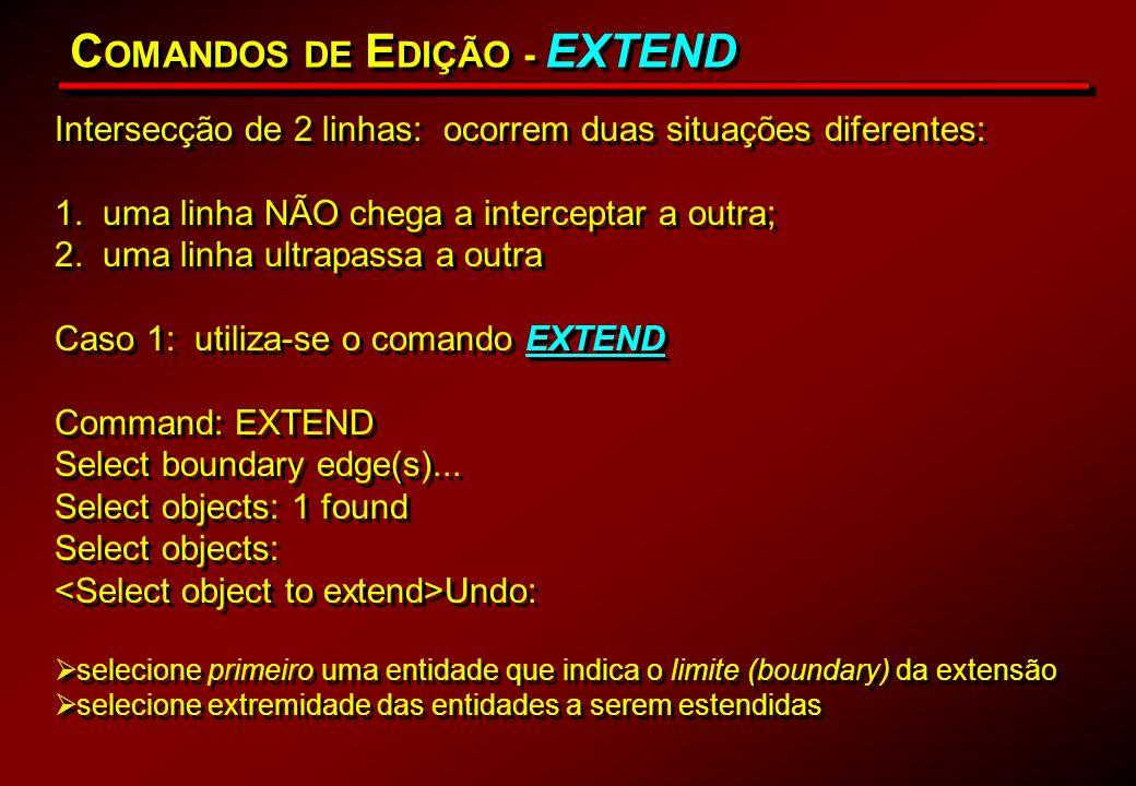 C OMANDOS DE E DIÇÃO - EXTEND Intersecção de 2 linhas: ocorrem duas situações diferentes: 1. uma linha NÃO chega a interceptar a outra; 2. uma linha u