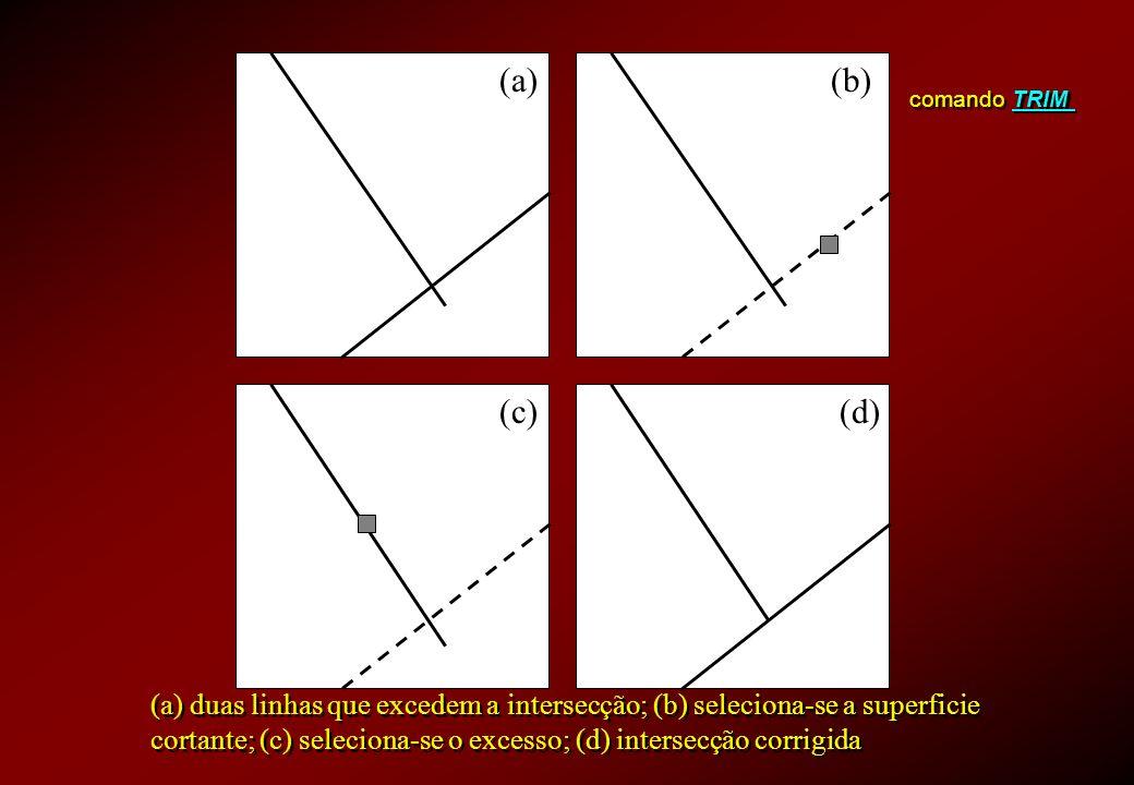 comando TRIM (a)(b) (c)(d) (a) duas linhas que excedem a intersecção; (b) seleciona-se a superficie cortante; (c) seleciona-se o excesso; (d) intersec