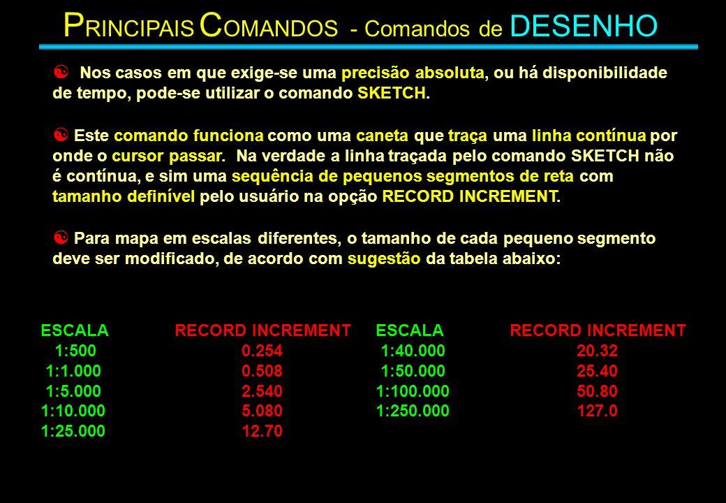 Nos casos em que exige-se uma precisão absoluta, ou há disponibilidade de tempo, pode-se utilizar o comando SKETCH. Este comando funciona como uma can