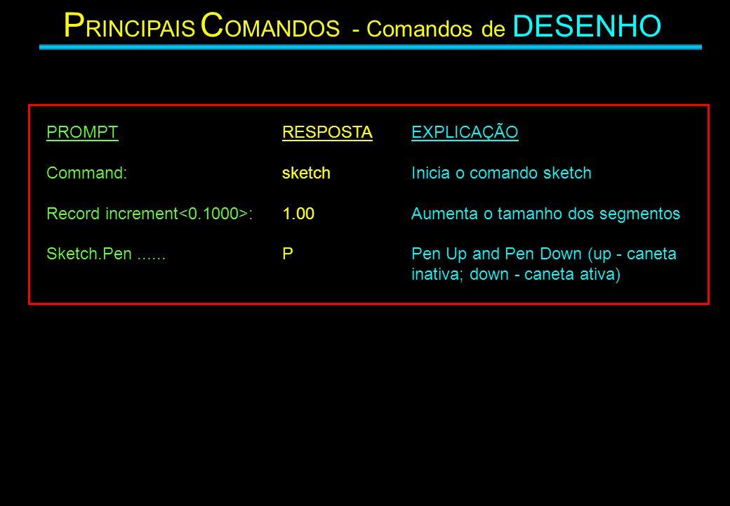 P RINCIPAIS C OMANDOS - Comandos de DESENHO PROMPT Command: Record increment : Sketch.Pen...... RESPOSTA sketch 1.00 P EXPLICAÇÃO Inicia o comando ske