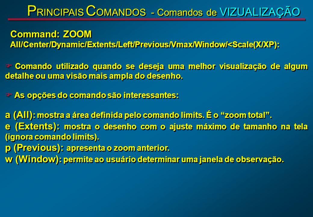 F Comando utilizado quando se deseja uma melhor visualização de algum detalhe ou uma visão mais ampla do desenho. F As opções do comando são interessa