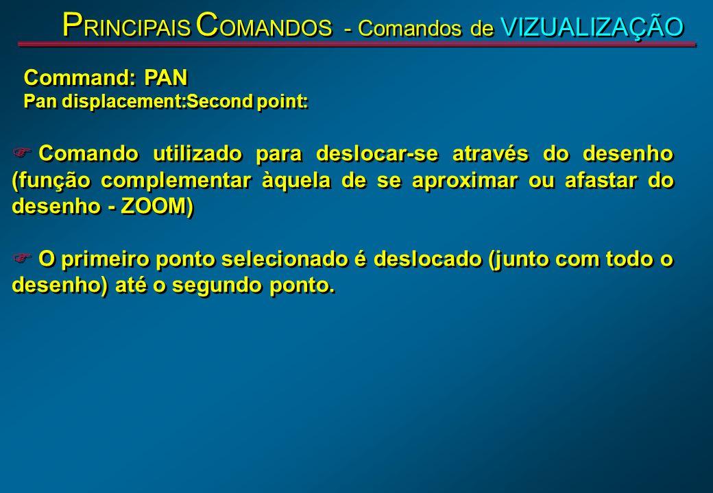 F Comando utilizado para deslocar-se através do desenho (função complementar àquela de se aproximar ou afastar do desenho - ZOOM) F O primeiro ponto s