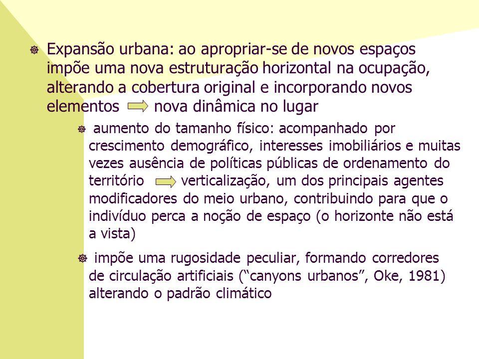 ] Expansão urbana: ao apropriar-se de novos espaços impõe uma nova estruturação horizontal na ocupação, alterando a cobertura original e incorporando