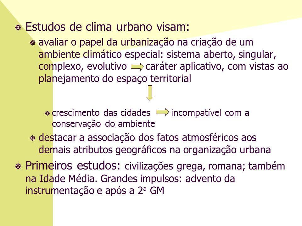 ] Estudos de clima urbano visam: ] avaliar o papel da urbanização na criação de um ambiente climático especial: sistema aberto, singular, complexo, ev