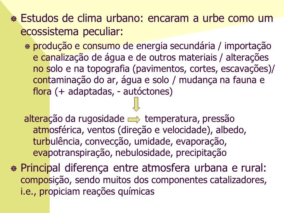 ] Estudos de clima urbano: encaram a urbe como um ecossistema peculiar: ] produção e consumo de energia secundária / importação e canalização de água