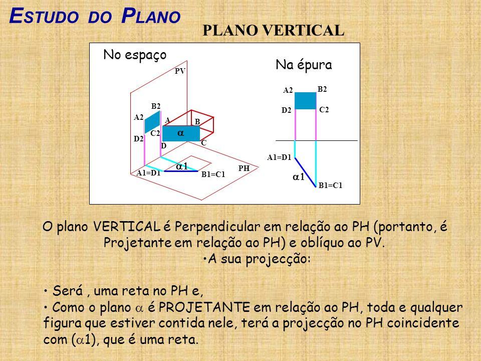 E STUDO DO P LANO PLANO VERTICAL O plano VERTICAL é Perpendicular em relação ao PH (portanto, é Projetante em relação ao PH) e oblíquo ao PV. A sua pr
