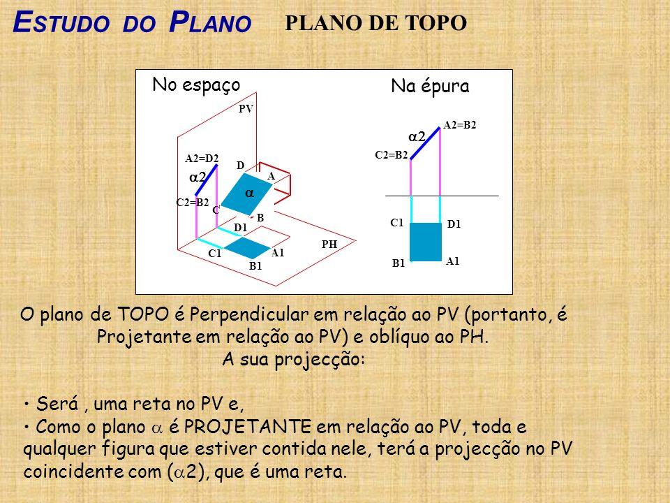 E STUDO DO P LANO PLANO DE TOPO O plano de TOPO é Perpendicular em relação ao PV (portanto, é Projetante em relação ao PV) e oblíquo ao PH. A sua proj