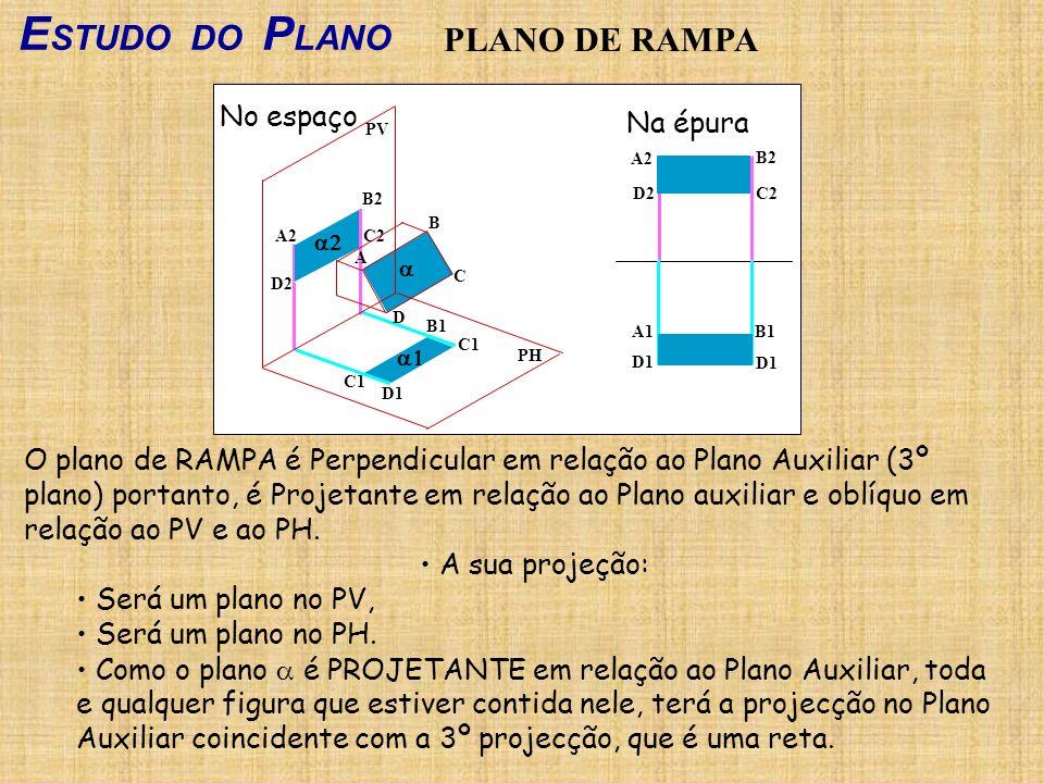 E STUDO DO P LANO PLANO DE RAMPA O plano de RAMPA é Perpendicular em relação ao Plano Auxiliar (3º plano) portanto, é Projetante em relação ao Plano a