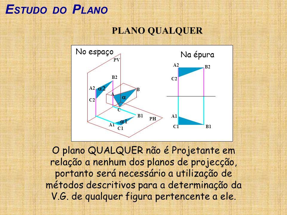 E STUDO DO P LANO PLANO QUALQUER O plano QUALQUER não é Projetante em relação a nenhum dos planos de projecção, portanto será necessário a utilização