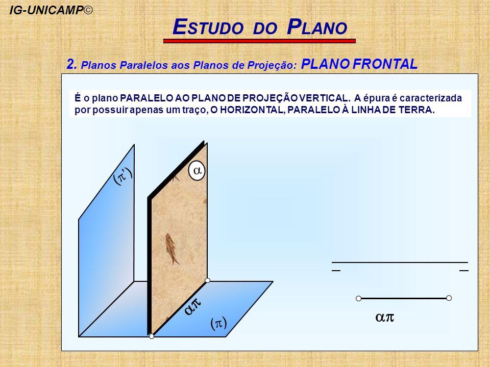 2. Planos Paralelos aos Planos de Projeção: PLANO FRONTAL E STUDO DO P LANO ( ) ( ) É o plano PARALELO AO PLANO DE PROJEÇÃO VERTICAL. A épura é caract