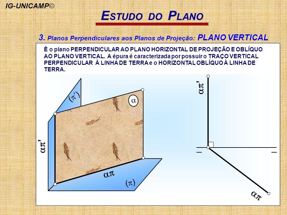 E STUDO DO P LANO ( ) É o plano PERPENDICULAR AO PLANO HORIZONTAL DE PROJEÇÃO E OBLÍQUO AO PLANO VERTICAL. A épura é caracterizada por possuir o TRAÇO