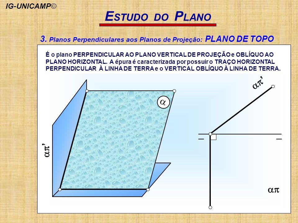 E STUDO DO P LANO É o plano PERPENDICULAR AO PLANO VERTICAL DE PROJEÇÃO e OBLÍQUO AO PLANO HORIZONTAL. A épura é caracterizada por possuir o TRAÇO HOR