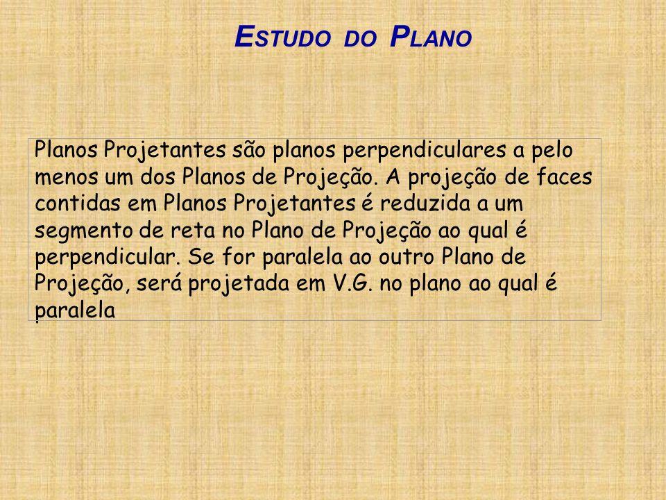 Planos Projetantes são planos perpendiculares a pelo menos um dos Planos de Projeção. A projeção de faces contidas em Planos Projetantes é reduzida a
