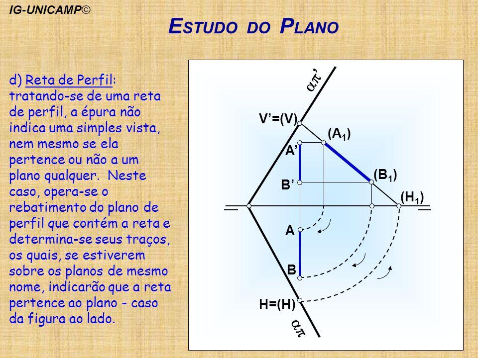 E STUDO DO P LANO H=(H) B A A B V=(V) (A 1 ) (B 1 ) (H 1 ) d) Reta de Perfil: tratando-se de uma reta de perfil, a épura não indica uma simples vista,