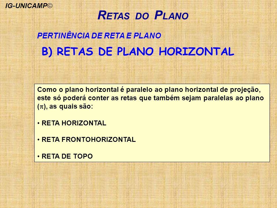 R ETAS DO P LANO PERTINÊNCIA DE RETA E PLANO Como o plano horizontal é paralelo ao plano horizontal de projeção, este só poderá conter as retas que ta
